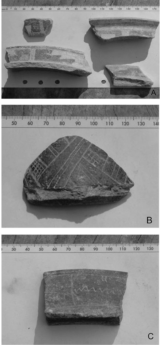 """Figure 5. Geometrical decorations of middle facet Balam Complex ceramics. A) Double step fret motif in red. B) Incised """"mat"""" motif. C) Zigzag incised design (Photographs by author)."""