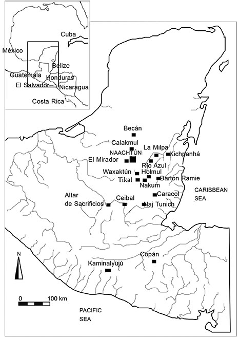 Map. Location of Naachtún in the Maya area and other sites mentioned in the text (Drawing by author).