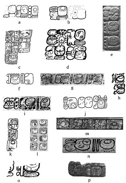 Figura 2. Ejemplos de glifo T544.501 precedidos por numerales: <em>a)</em> Estela 4 de Motul de San José (Tokovinine, 2013: 112); <em>b)</em> Estela 30 de Naranjo (Beliaev y Tokovinine, 2013); <em>c) </em>Estela Randall (Miller y Martin, 2004: figura 51); <em>d)</em> Dibujo 82 de Naj Tunich (Stone, 1995); <em>e)</em> Bloque 401-6 de Calakmul (fotografía de Rogelio Valencia); <em>f)</em> Fachada de estuco de la Estructura 5D-57 de Tikal (Tokovinine, 2013: 112); <em>g)</em> Vasija K2914 (fotografía de Justin Kerr); <em>h)</em> Mural de la batalla de Bonampak (Montgomery, 2001: Room 2 Caption 15); <em>i)</em> Vasija K1383 (fotografía de Justin Kerr); <em>j)</em> Estela 19 de Aguateca (Tokovinine, 2013: 112); <em>k)</em> Estela 13 de Naranjo (Graham, 1975: 37);<em> l) </em>Panel 1 de Cancuén (dibujo de Yuriy Polyukhovich); <em>m) </em>Vasija K633 (fotografía de Justin Kerr); <em>n)</em> Vasija K7042 (fotografía de Justin Kerr); <em>o)</em> Vaso de la cueva de Cuychén (Helmke <em>et al</em>., 2012: 84); <em>p)</em> Jamba noreste del Templo 18 de Copán (fotografía de Linda Schele).</p>