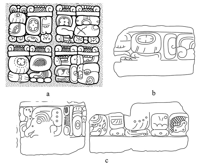 Figura 3<strong>.</strong> <em>a)</em> Paneles de Denver y Bruselas (dibujo de Alexander Safronov); <em>b)</em> Bloque U del Escalón IV de la Escalera Jeroglífica de El Palmar (Tsukamoto <em>et al.</em>, 2015; Tsukamoto y Esparza, en prensa); <em>c) </em>Bloques G1-I1 del Escalón II de la Escalera Jeroglífica de El Palmar (Tsukamoto<em> et al.</em>, 2015; Tsukamoto y Esparza, en prensa).
