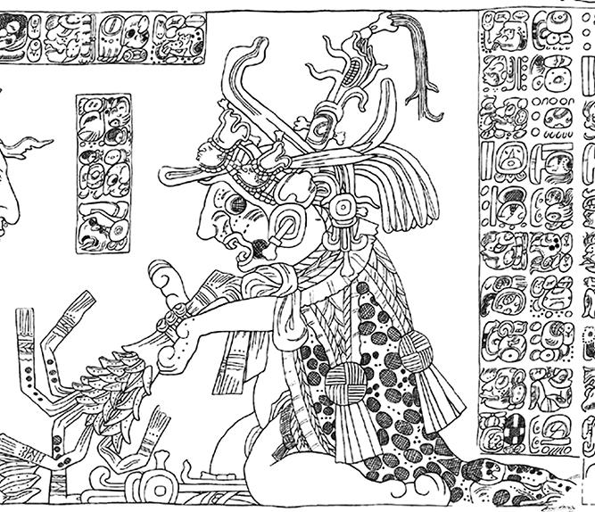 Figura 4. Detalle del tablero del Templo XXI de Palenque. Tomado de González y Bernal, 2012: 91.